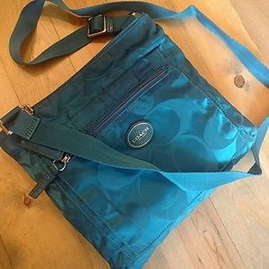 Coach blue nylon crossbody handbag